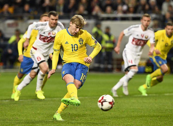 RB Leipzig Star Emil Forsberg konnte mit Schweden punkten. AFP PHOTO