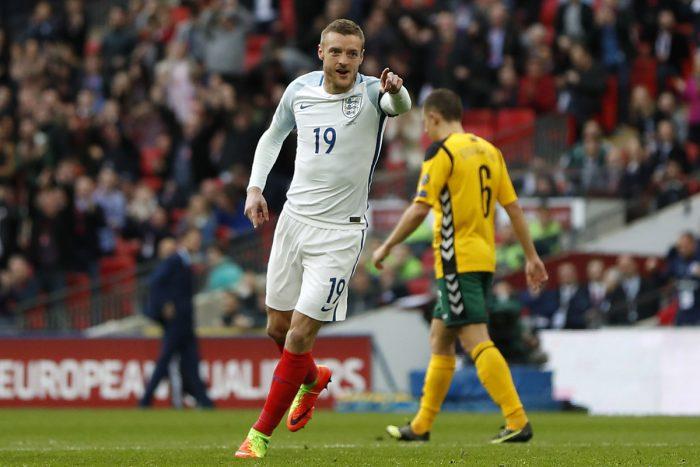 Jamie Vardy konnte beim 2:0 Sieg Englands gegen Litauen erneut treffen. AFP PHOTO.