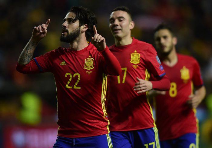 Souverän. Spanien gewinnt deutlich mit 4:1 gegen Israel. Bald kommt es zum Duell mit Italien. AFP PHOTO.