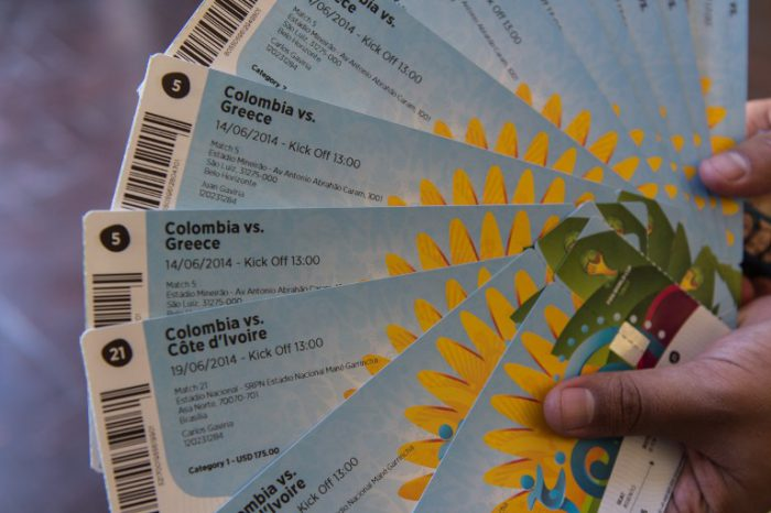 Das waren die WM-Tickets zur FIFA World Cup Brazil 2014. AFP PHOTO / YASUYOSHI CHIBA