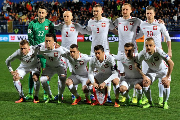 Polens Startelf im WM-Quali Spiel gegen Montenegro am 26.03.2017. AFP PHOTO