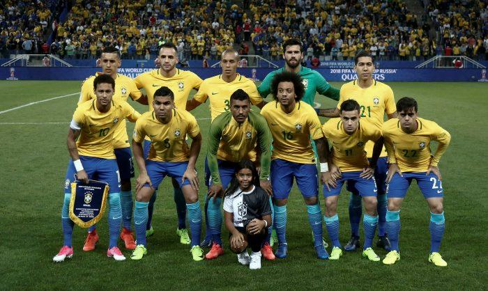 Brasilien - Weltmeister Favorit wie immer: hier gegen Paraguay in Sao Paulo am 28.März 2017. / AFP PHOTO / Miguel SCHINCARIOL