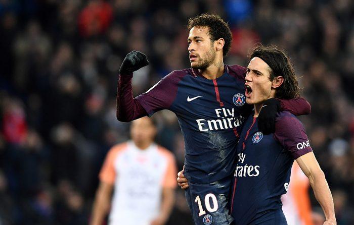 Edison Cavani mit seinem Kollegen Neymar bei Paris St.Germain (Foto AFP)
