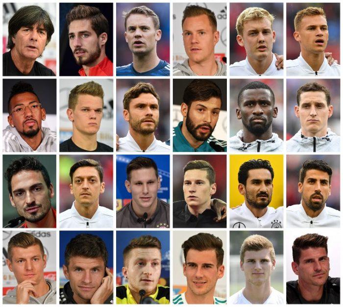 Bundestrainer Löw und seine 23 Nationalspieler des endgültigen WM-Kaders. / AFP PHOTO