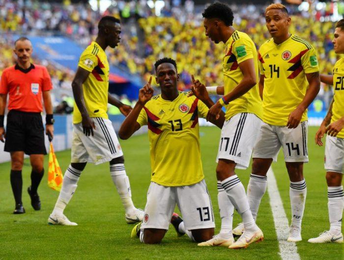 Kolumbien feiert das Erreichen des WM-Achtelfinales mit einem 1:0 Siege gegen den Senegal. AFP PHOTO / Manan VATSYAYANA